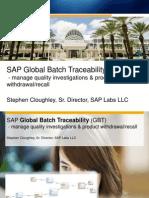 SAP Global Batch Tracebility