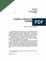 Guerre Et Deontologie de l'Linformation