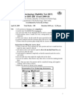 DBT BET Question Paper 2009 with Answer Key