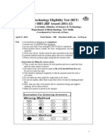 DBT BET Question Paper 2011 with Answer Key