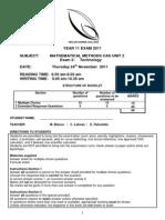 2011 Maths Methods Exam 2 Unit 2