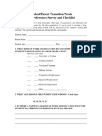 parent checklist for transition planning