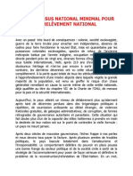 UN CONSENSUS NATIONAL MINIMAL POUR