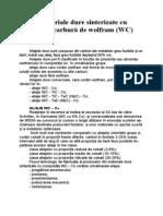 Aliaje Dure Sinterizate Cu Baza Carbura de Wolfram