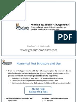 numerical test tutorial shl style - sample pdf | Index