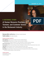 A NATIONAL STUDY of Human Resource Practices, Turnover, and Customer Service in the Restaurant Industry.