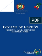 Cámara de Diputados de Bolivia. informe de gestión 2013 - 2014