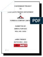 Summer Internship Report 2012 Forbes and Company Ltd