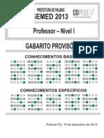 Gabarito Professor Nivel I