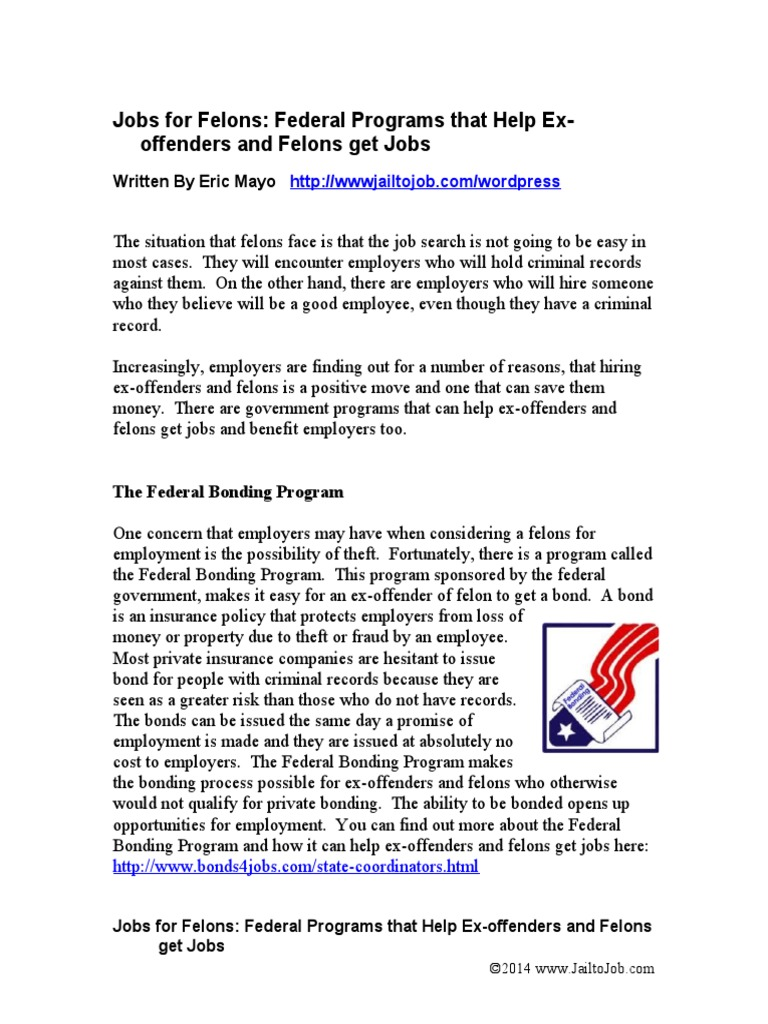 jobs for felons: government programs that help ex-offenders and