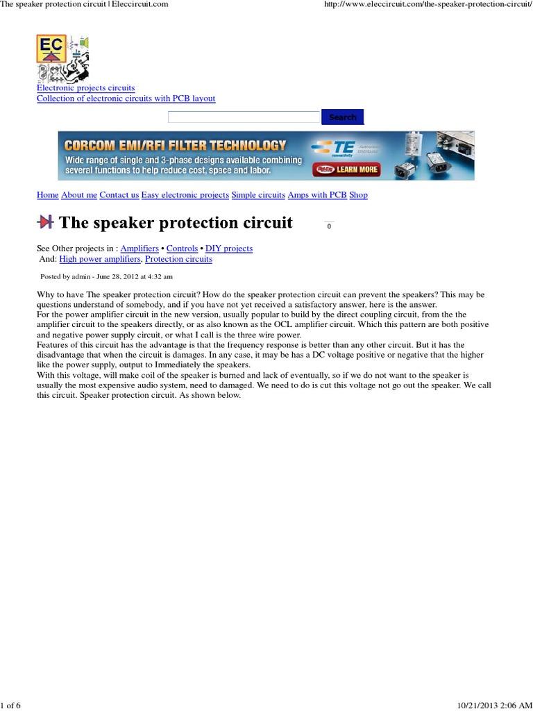 the speaker protection circuit eleccircuit amplifier loudspeaker