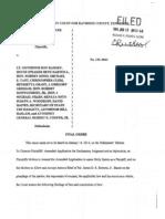 Order of 1st Circuit Court Judge Hamilton Gayden Re Hooker v Ramsey Et Al Re JPEC