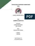 CAMBIOS CLIMATICOS INSTITUTO TECNOLÓGICO SUPERIOR COMUNITARIO