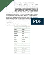 INFLUENCIA   DE LAS  LENGUAS   INDIGENAS  EN EL ESPAÑOL
