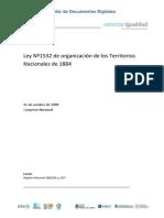 Ley de Organizacion de Los Territorios Nacionales (1884)