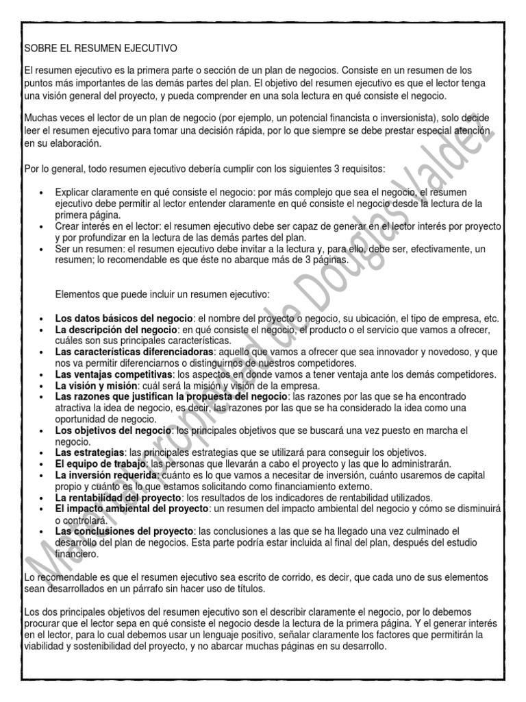 Best Business Plan Resumen Ejecutivo Photos - Entry Level Resume ...