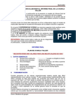 Instrucciones Informe Final de Charla Taller Ejecutado