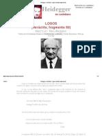Heidegger en castellano - Logos (Heráclito, fragmento 50)