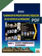 Sesión 1 - CONCEPTOS Y FUNDAMENTOS BASICOS DE COSTOS MINEROS (19-Nov-13)