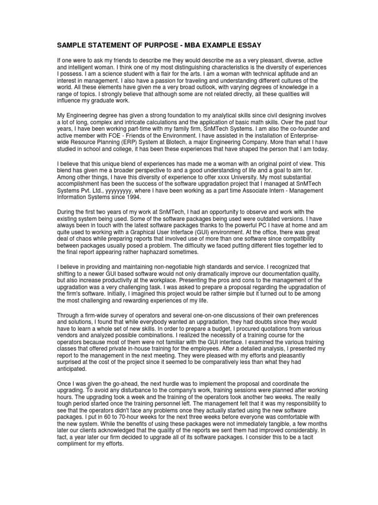 Sample Statement of Purpose Mba Example Essay – Statement of Purpose