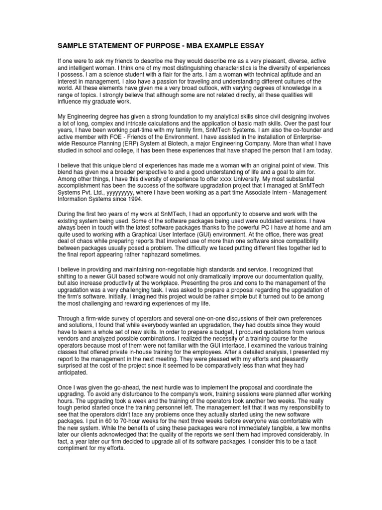 Sample Statement of Purpose - Mba Example Essay | Graphical User ...