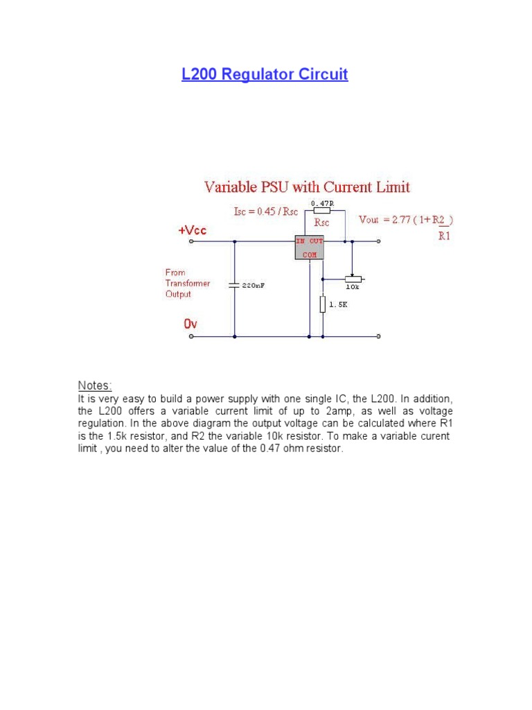 L200 Regulator Circuit Battery Electricity Power Supply Variable On Resistor In Diagram