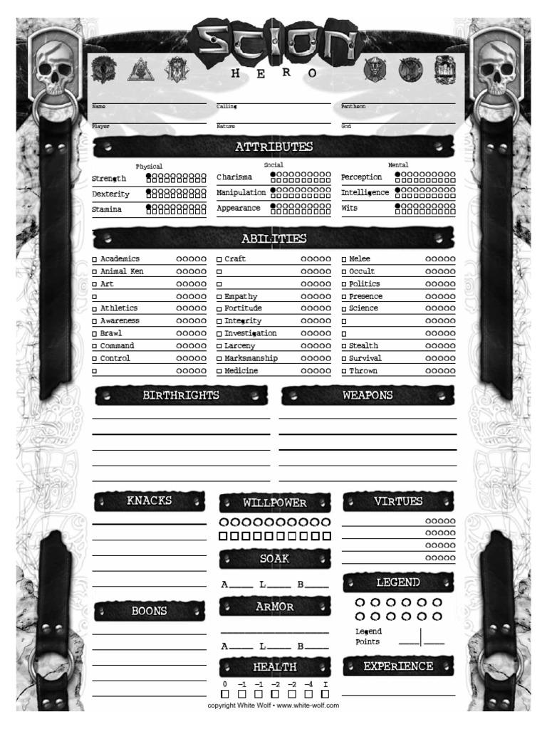 Scion Hero Character Sheet Epub Download