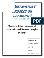 chemistry project class 12 on presence of acetic acid in  samples of curd
