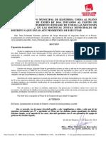 Moción relativa al cumplimiento de las mociones de IU en las Juntas Municipales de Distrito