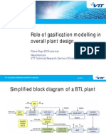 Role of gasification modelling in overall plant design