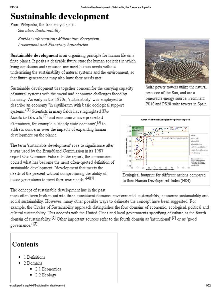Sustainable Development Wikipedia The Free Encyclopedia