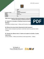 Assignment QP BBA Retail Management BBA405 Fall 2013