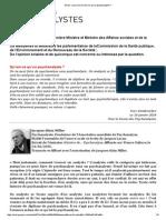 Courrier de Yves Vanderveken à Onkelinx - Qu'est-ce qu'un psychanalyste?