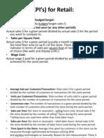 KPI's) for Retail