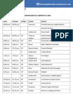 Programación de la Serenata a Lima 2014
