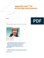 """Study- """"Disappointly Weak"""" Link Between Salt and High Blood Pressure"""