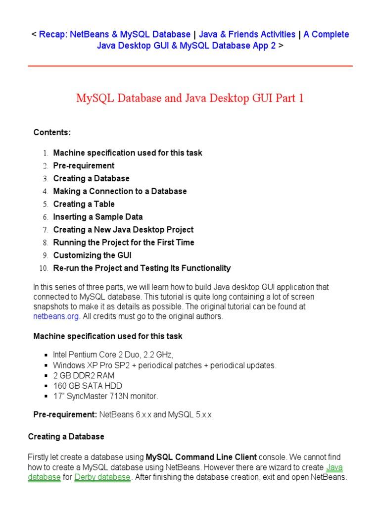 MySQL Database and Java Desktop GUI Part 1   My Sql   Databases