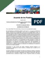 Conclusiones Conferenica Mundial de Los Pueblos Sobre Cambio Climatico Cochabamba 19 22 de Abril 2010