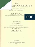 Aristotle 11 - De Rhetorica - De Rhetorica Ad Alexandrum - De Poetica - Ross