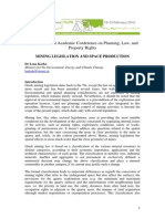 MINING LEGISLATION AND SPACE PRODUCTION (GREECE)
