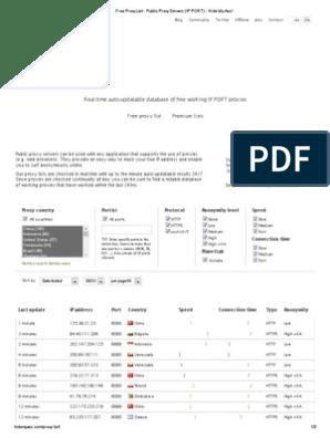 Free Proxy List - Public Proxy Servers (IP PORT) - Hide My Ass