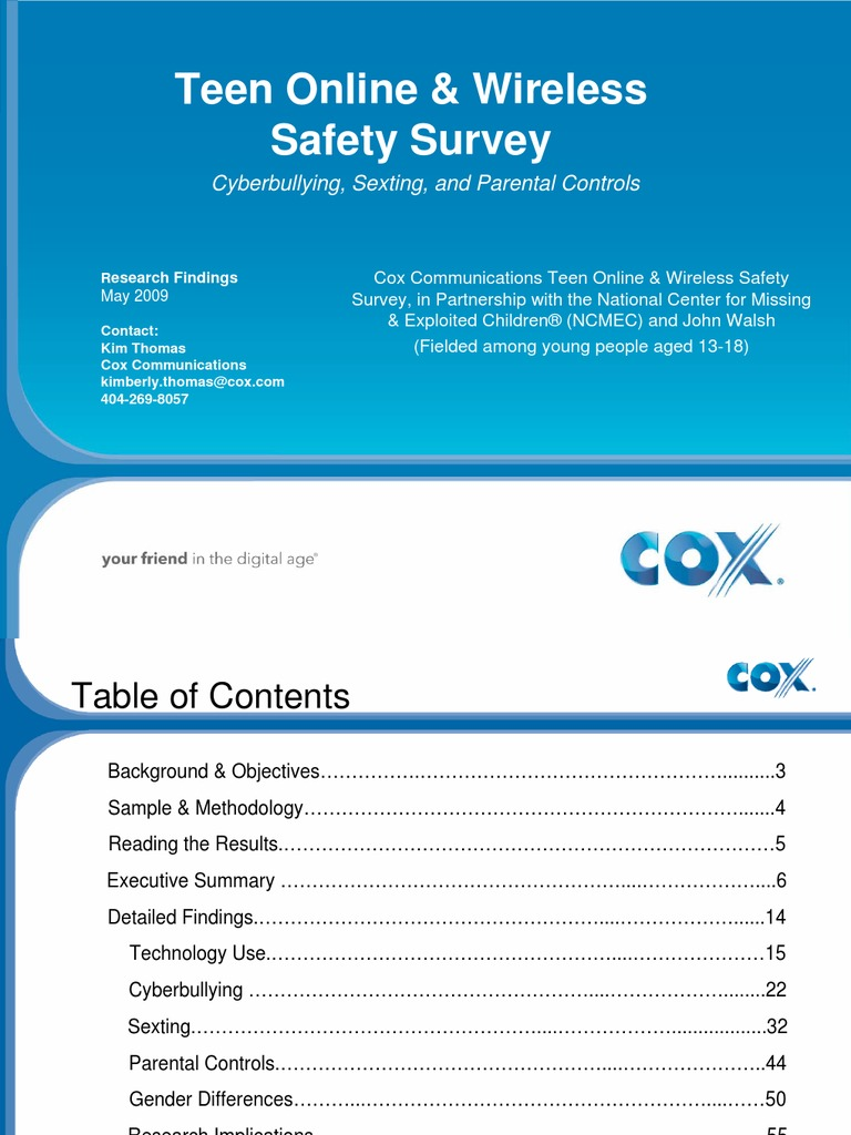 2009 cox teen online  u0026 wireless safety survey  cyberbullying  sexting and parental controls