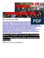 Noticias Uruguayas Jueves 16 de Enero Del 2014