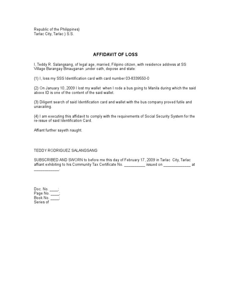 Bon Affidavit Of Loss