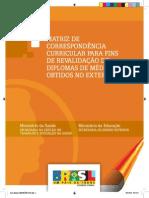 Matriz de Correspondencia Curricular Para Fins de Revalidacao de Diploma Medico