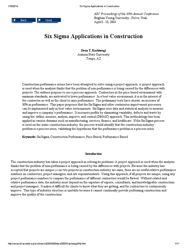 Six Sigma Applications In Construction Six Sigma Business Process