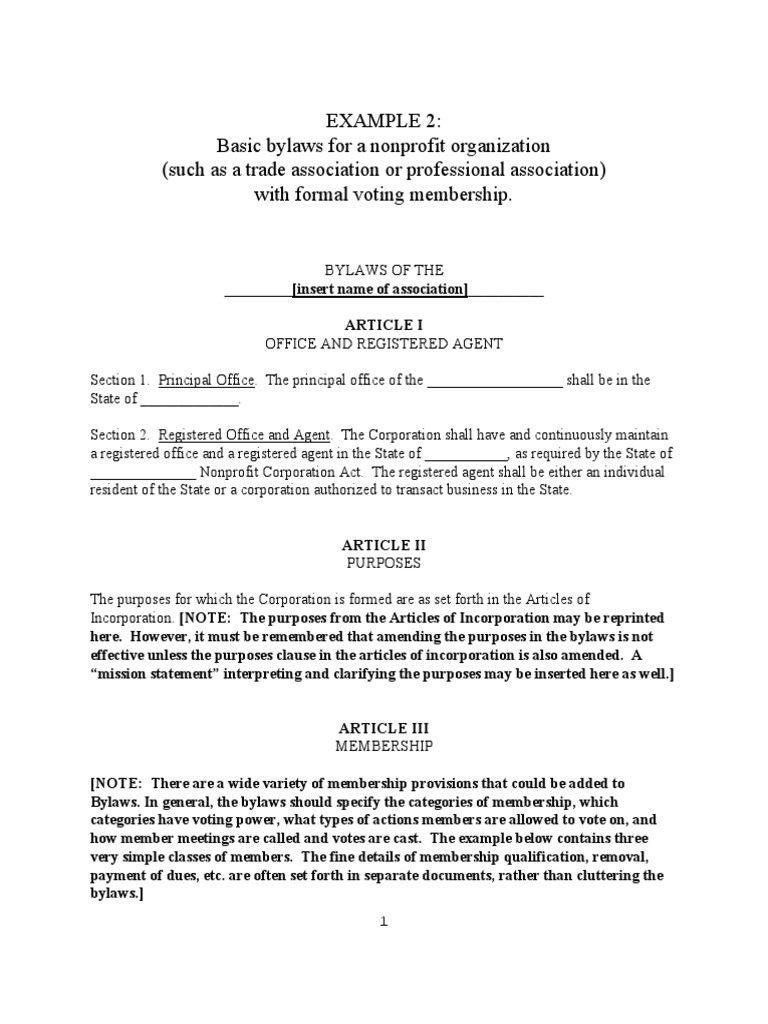 Sample By Laws For A Nonprofit 2 Board Of Directors By Law Non profit bylaws template free