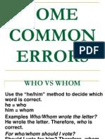 Some Common Errors