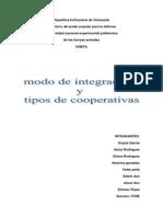 Tipos de Cooperativas y Modo de Integracion