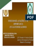 Toxicologia Analitica y Su Importancia en Las Intoxicaciones